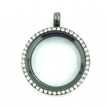 Round living memory floating locket with rhinestones - 29cm - gun metal